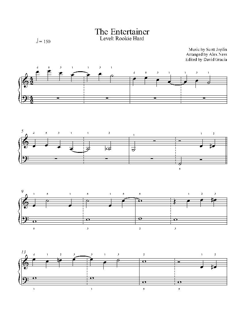 The Entertainerscott Joplin Piano Sheet Music | Rookie Level - Free Printable Sheet Music For The Entertainer