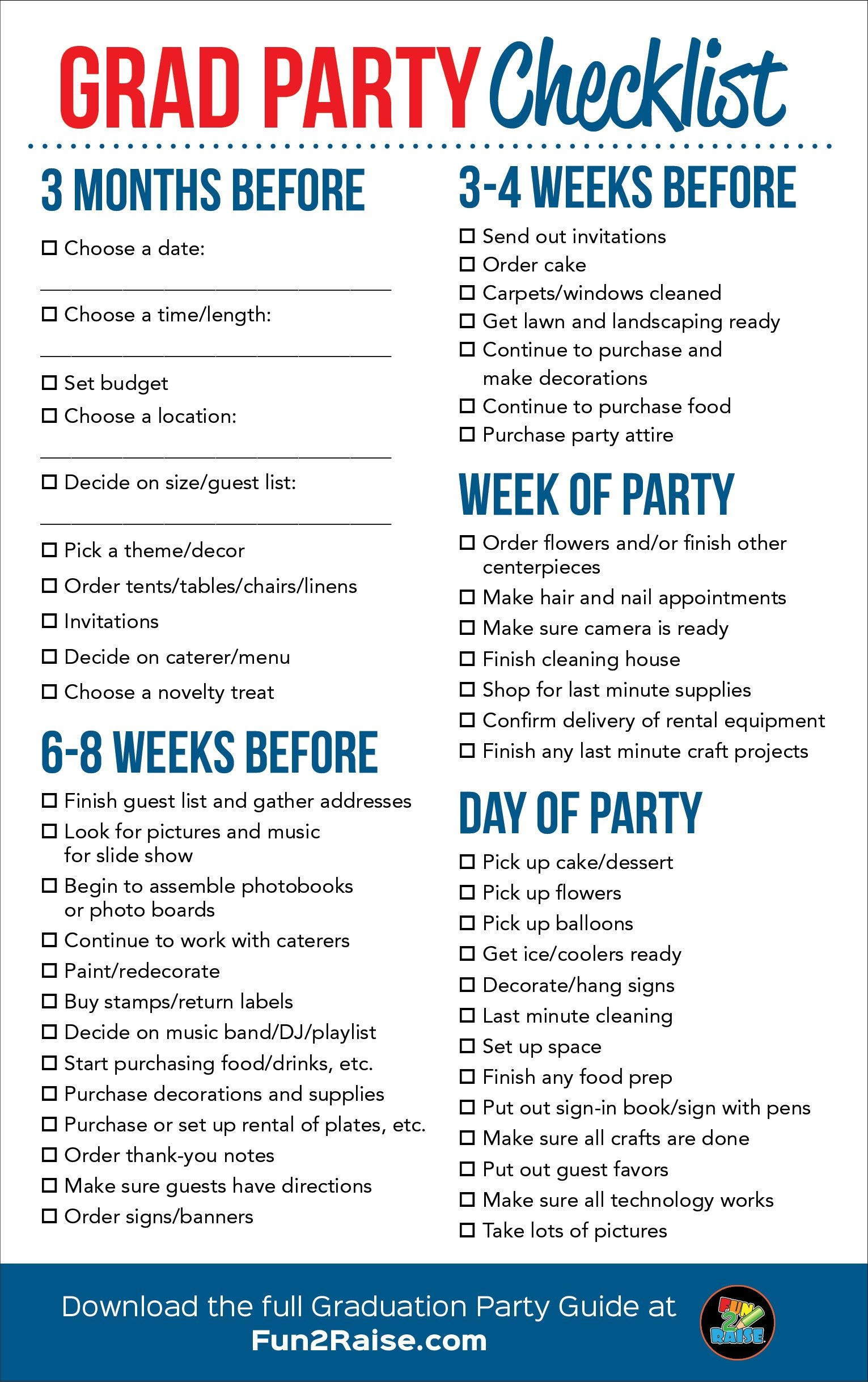 The Perfect Grad Party Checklist! For More Helpful Tips On Planning - Free Printable Graduation Party Games
