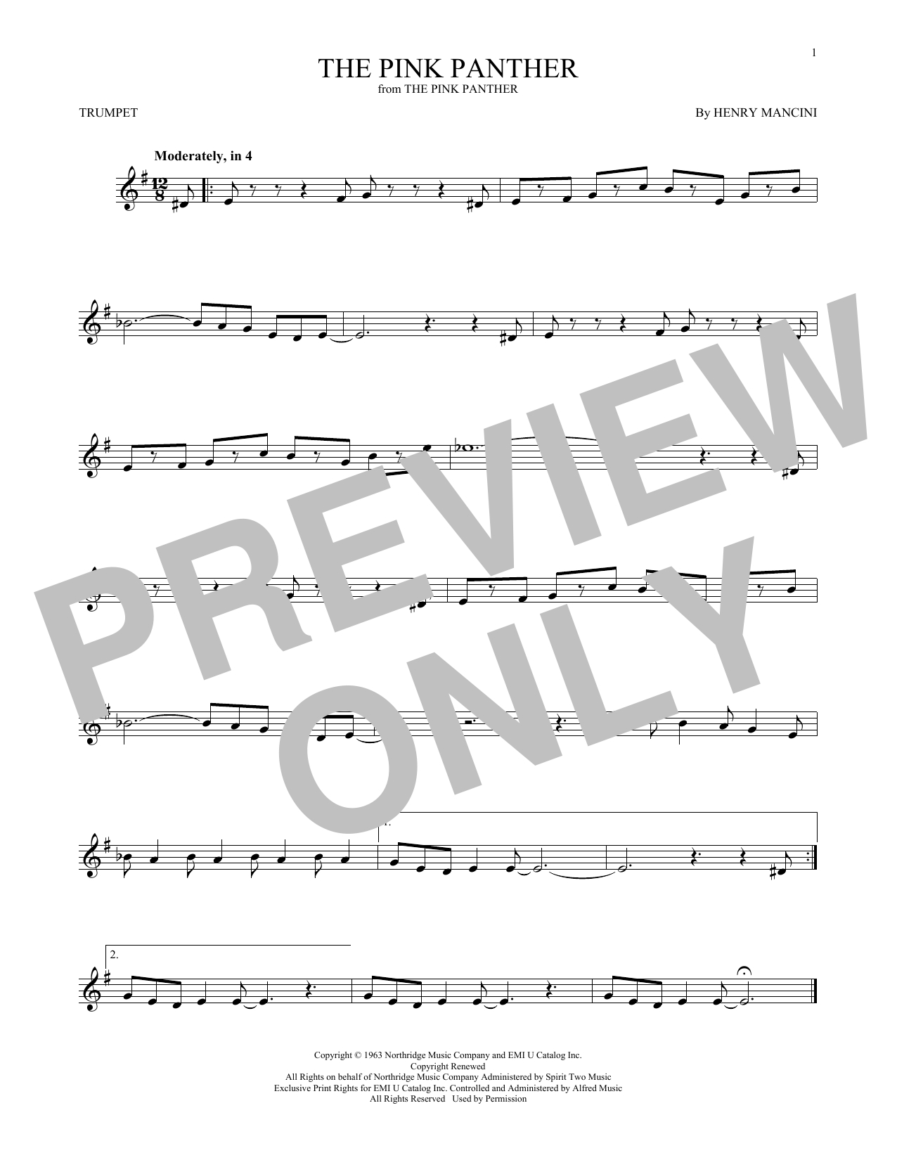 The Pink Panther (Trumpet Solo) - Print Sheet Music Now - Free Printable Trumpet Sheet Music Pink Panther
