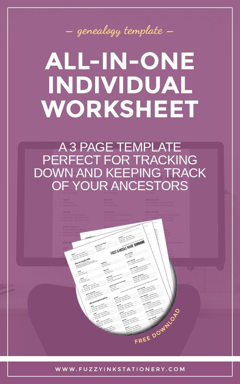 The Ultimate All-In-One Genealogy Individual Worksheet | Upbringing - Free Printable Genealogy Worksheets