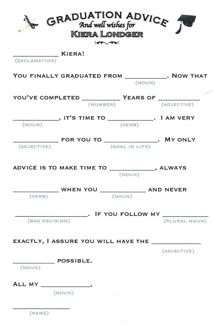 These Mad Libs Are Perfect For Any Graduation Party.   Gradation Mad - Free Printable Graduation Party Games