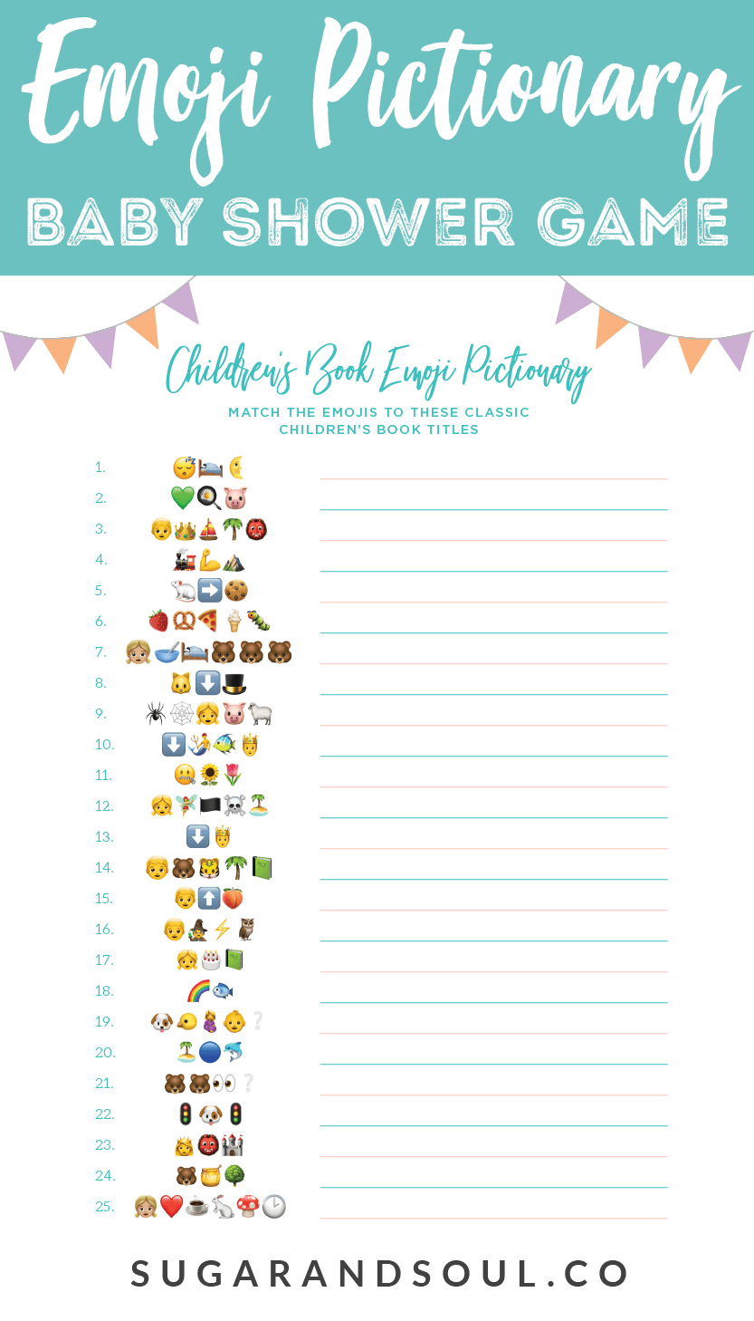 This Free Emoji Pictionary Baby Shower Game Printable Uses Emoji - Free Printable Online Baby Shower Games
