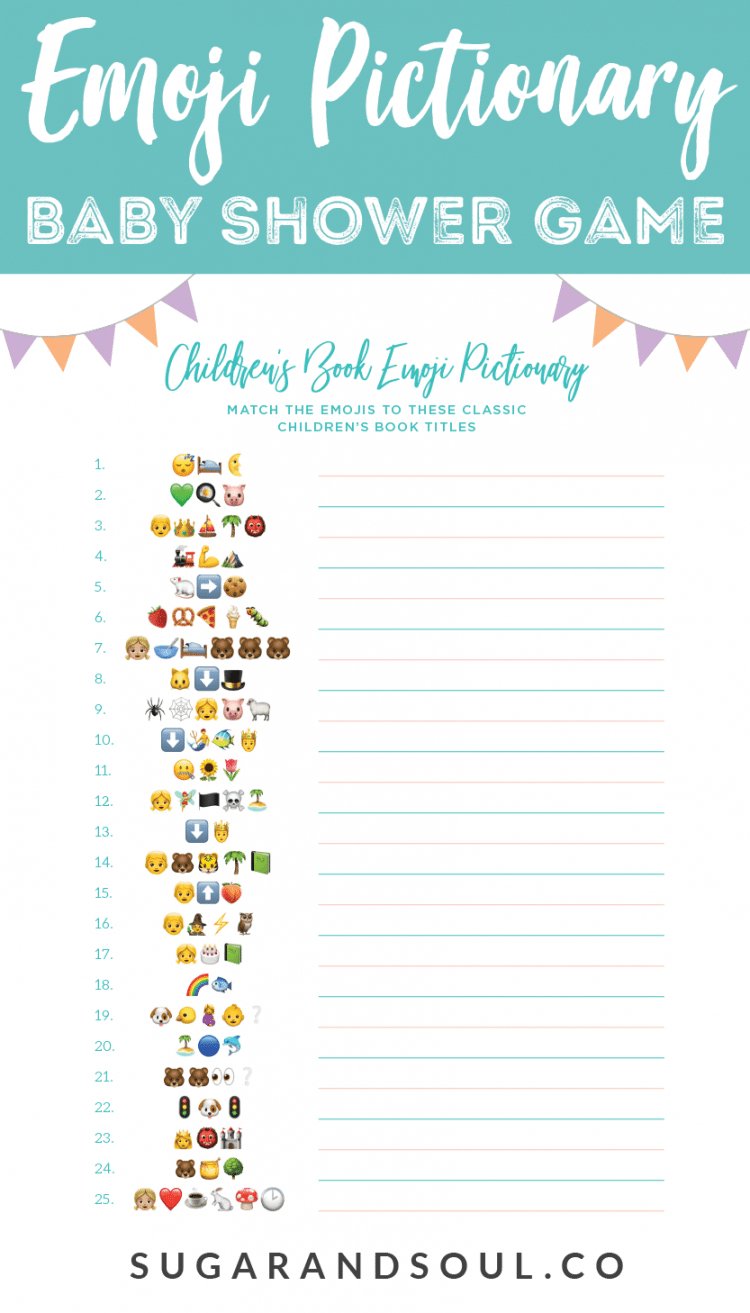 This Free Emoji Pictionary Baby Shower Game Printable Uses Emoji - What's In Your Phone Baby Shower Game Free Printable