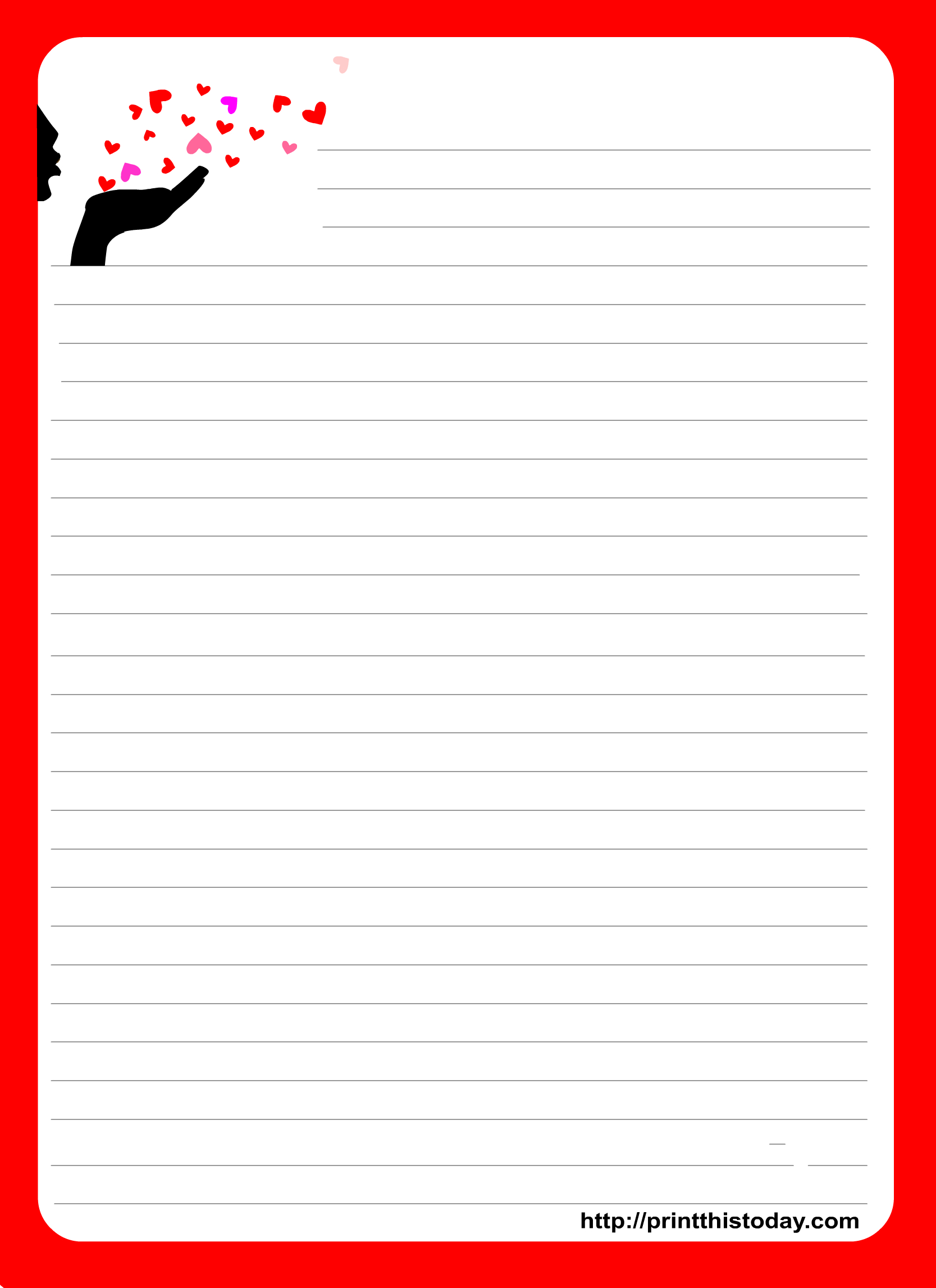 This Is An Adorable Love Letter Pad Stationery Design Which Has - Free Printable Love Letter Paper
