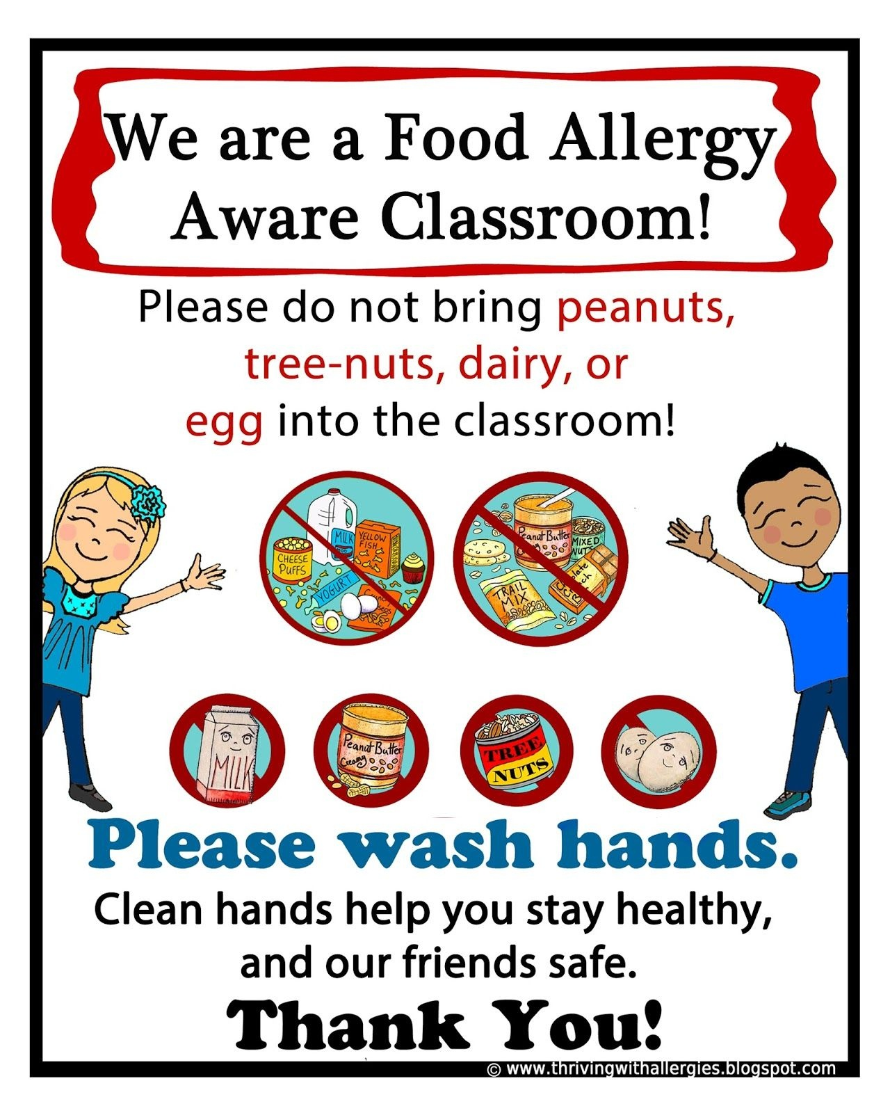 Thriving With Allergies: Food Allergy Alert Daycare/school Handouts - Printable Peanut Free Classroom Signs