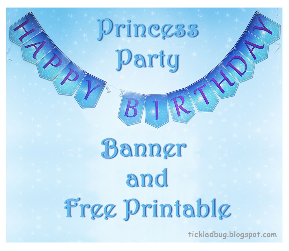 Tickledthe Creative Bug: Princess Party Happy Birthday Banner - Free Printable Princess Birthday Banner