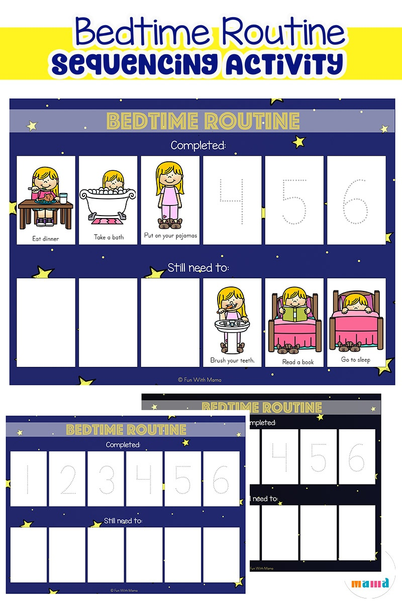 Toddler Bedtime Routine Chart Sequencing Activity - Fun With Mama - Free Printable Schedule Cards For Preschool