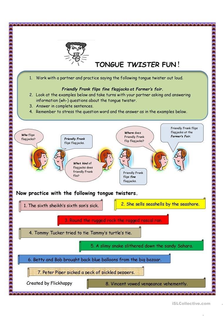Tongue Twister Fun Worksheet - Free Esl Printable Worksheets Made - Free Printable Tongue Twisters