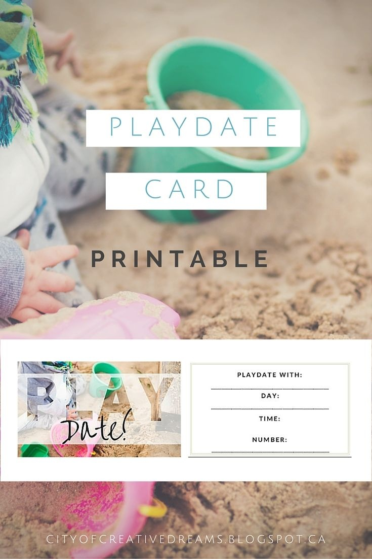 Too Cute Playdate Cards Printable! Via @ City Of Creative Dreams - Free Printable Play Date Cards