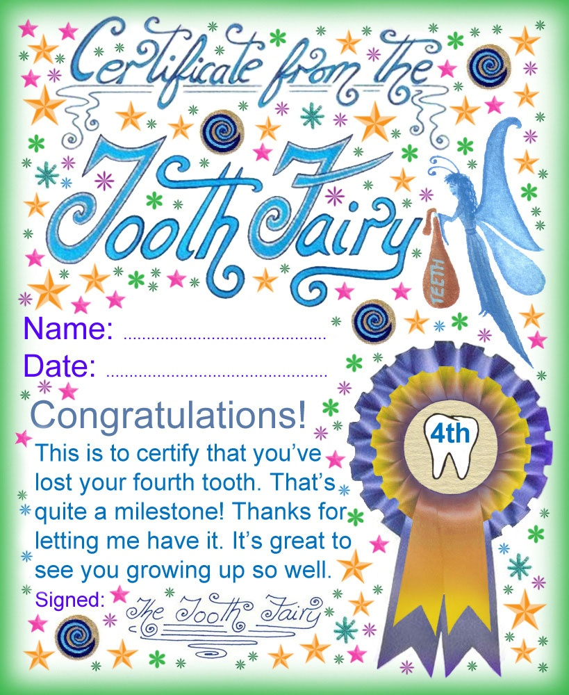 Tooth Fairy Certificate: Award For Losing Your Fourth Tooth - Free Printable Tooth Fairy Pictures