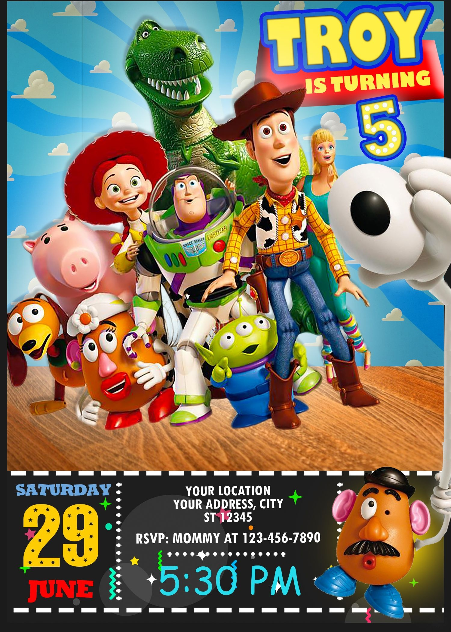 Toy Story 4 Birthday Invitation In 2019 | Oscarsitosroom | Toy Story - Free Printable Toy Story 3 Birthday Invitations