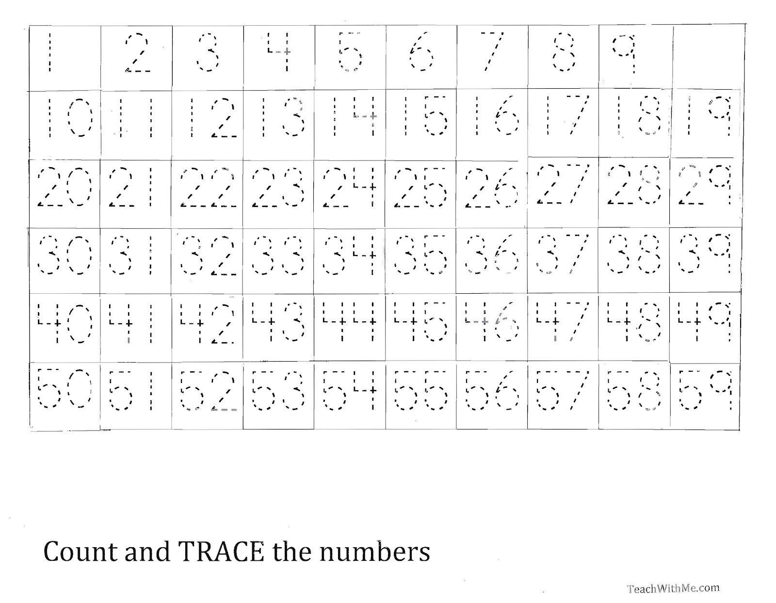 Trace The Number 1-59 Worksheet | Homeschool | Numbers 1 100 - Free Printable Tracing Numbers 1 50
