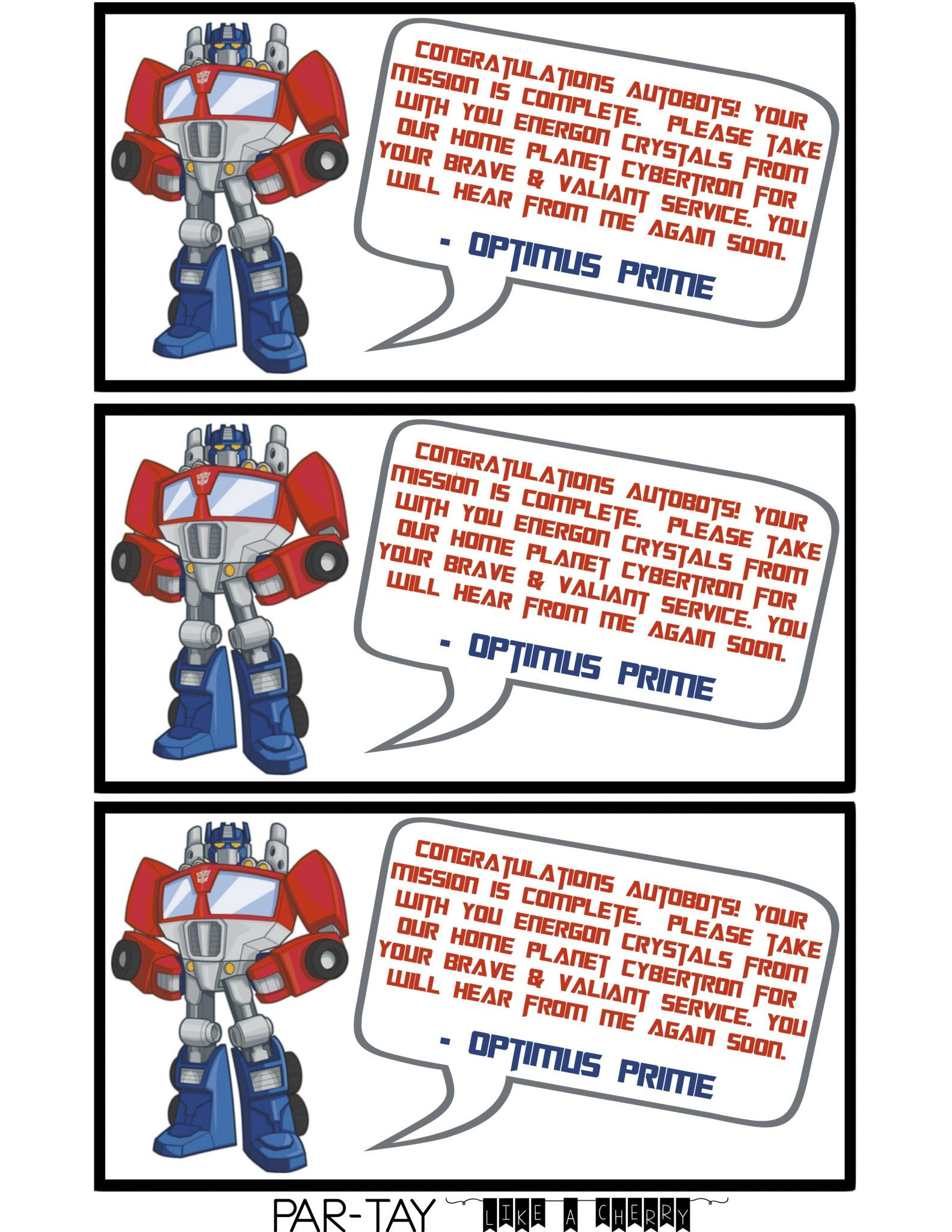 Transformer Party Favors | Party Like A Cherry | Transformer Party - Transformers Party Invitations Free Printable