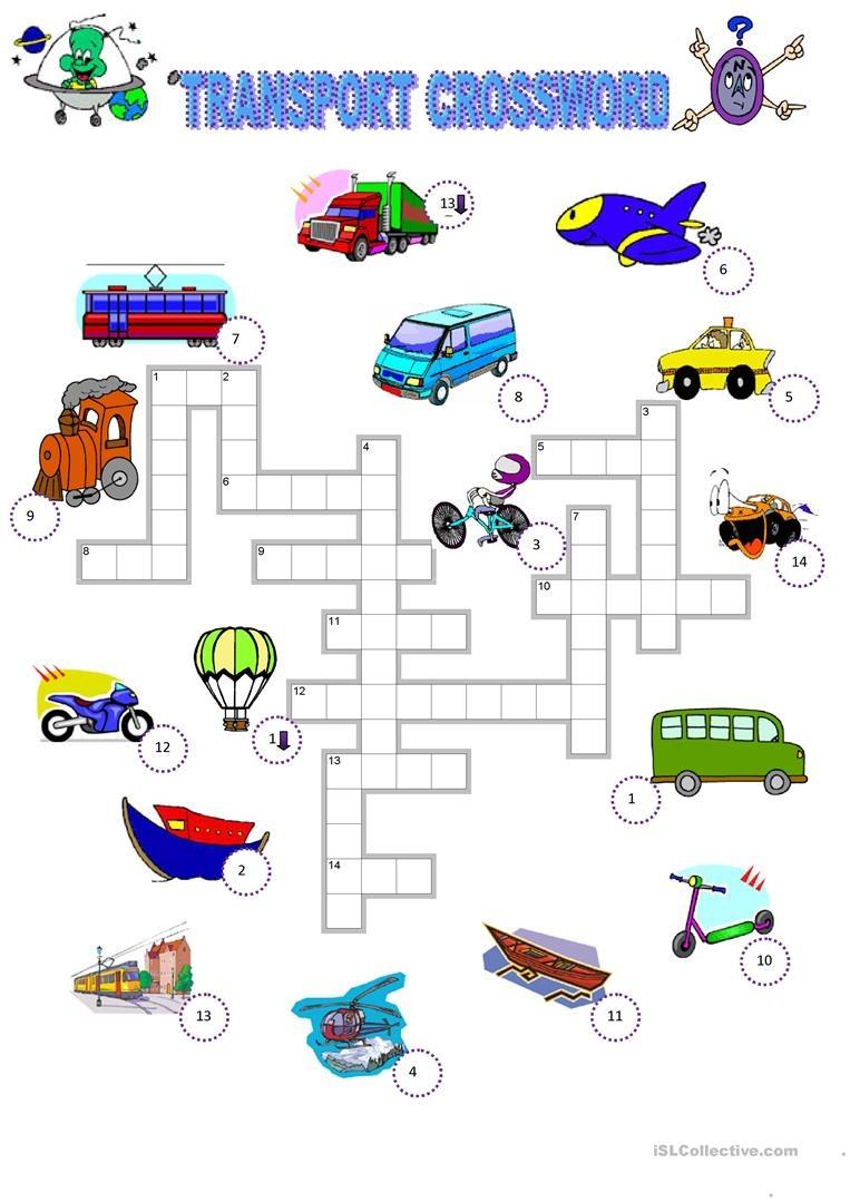 Transport Crossword Worksheet - Free Esl Printable Worksheets Made - Free Printable Transportation Worksheets For Kids