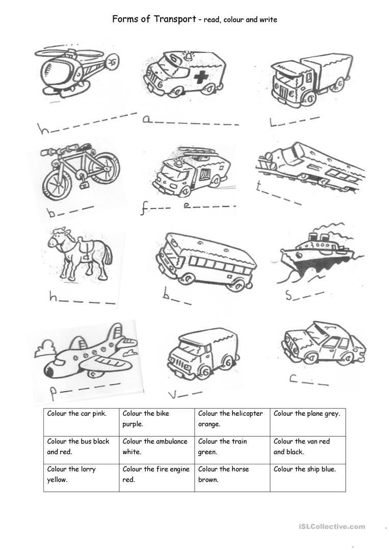 Transport Worksheet - Free Esl Printable Worksheets Madeteachers - Free Printable Transportation Worksheets For Kids