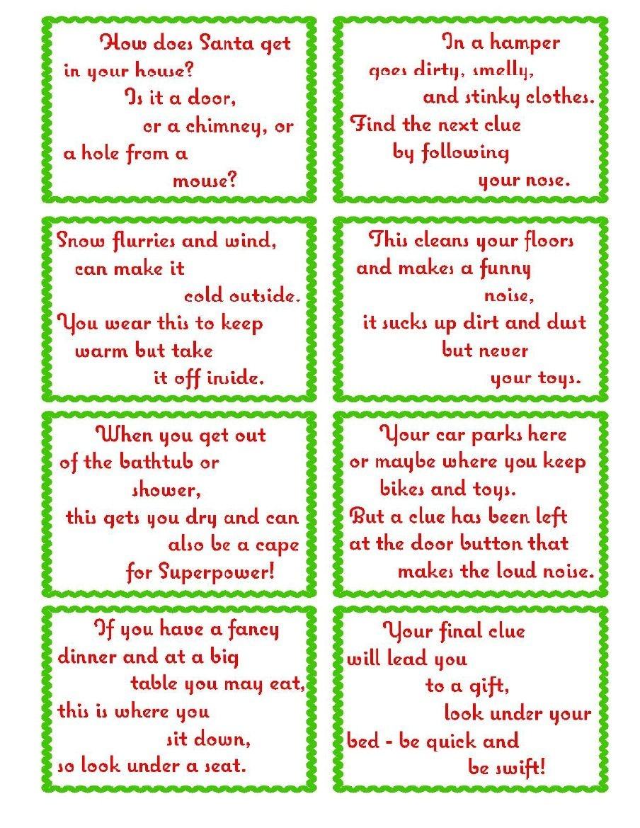 Treasure Hunt Clue Cards- Page 2   Elfoutfitters #elfoutfitters - Free Printable Christmas Treasure Hunt Clues
