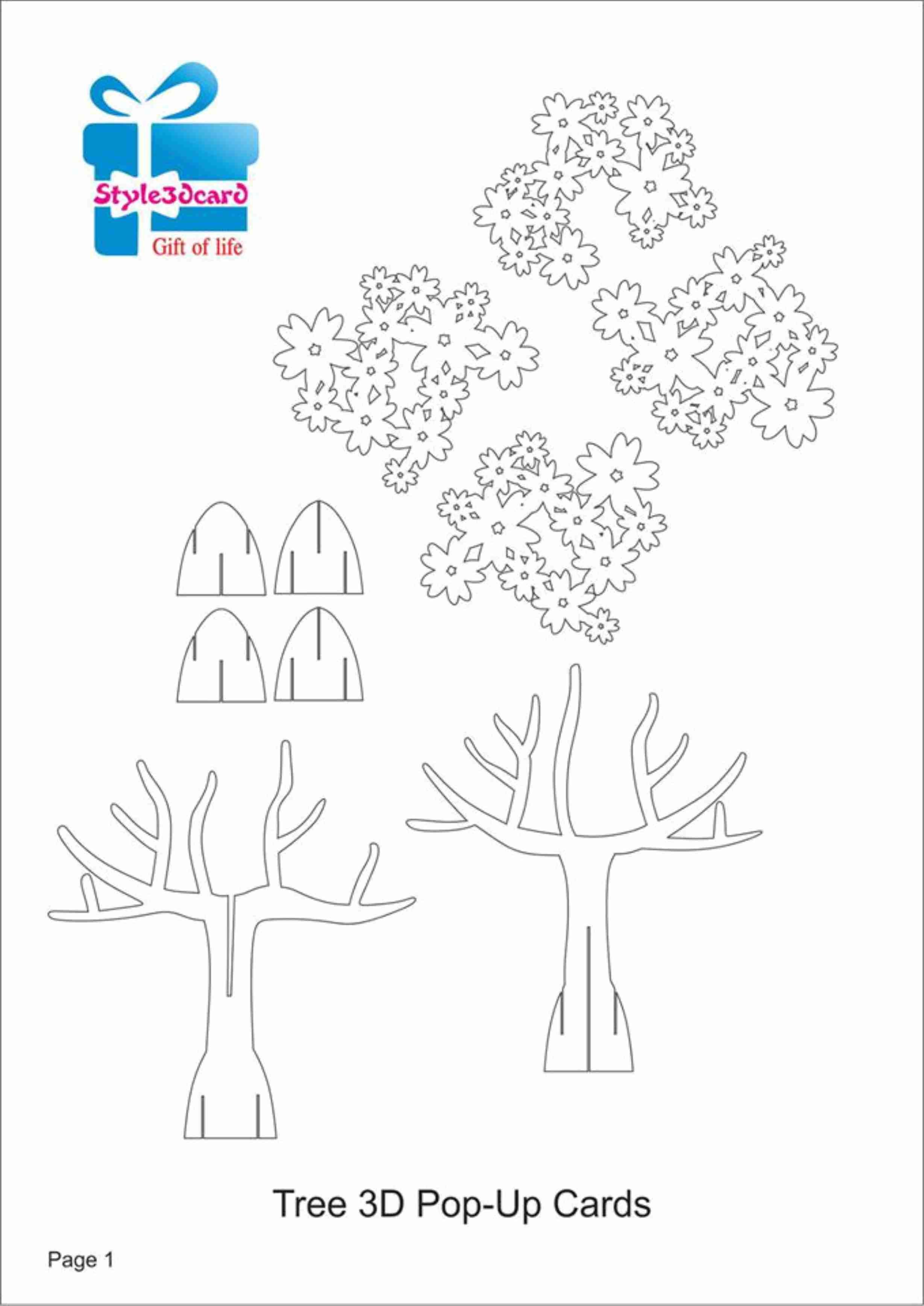 Tree 3D Pop Up Card/ Kirigami Pattern 1   Pop-Up I Kirigami Pattern - Free Printable Kirigami Pop Up Card Patterns