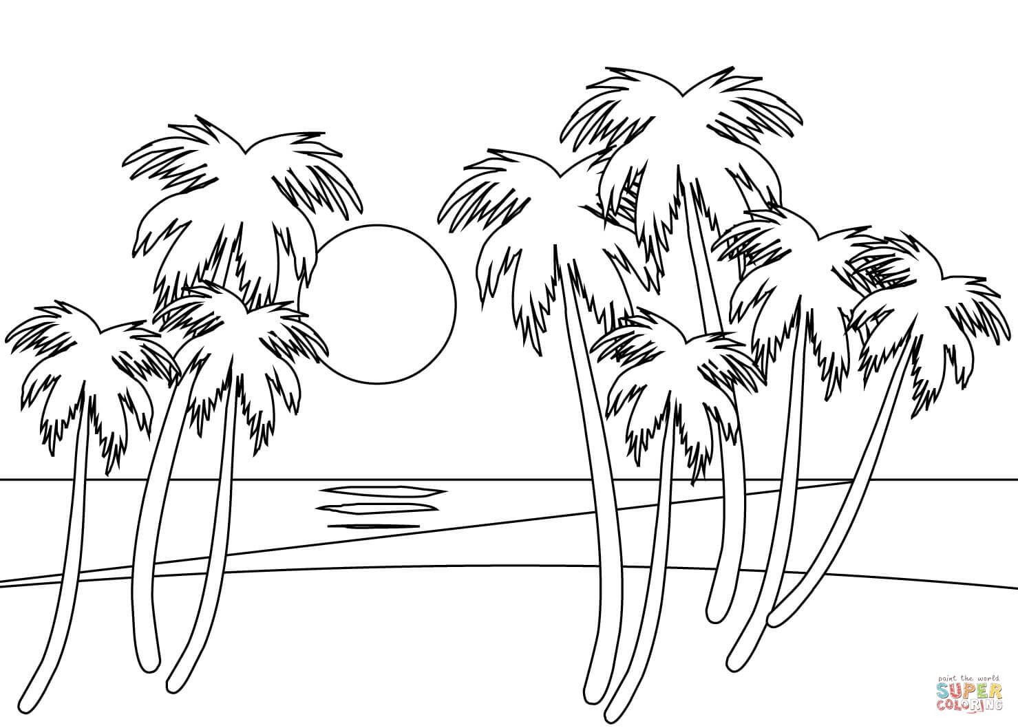 Tropical Beach Coloring Page | Free Printable Coloring Pages - Free Printable Beach Coloring Pages
