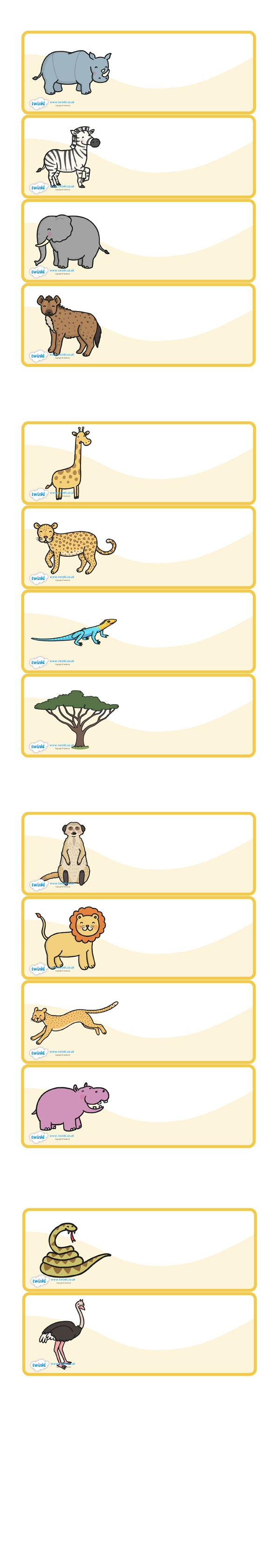 Twinkl Resources >> Editable Peg Drawer Labels Safari Animals - Free Printable Classroom Tray Labels