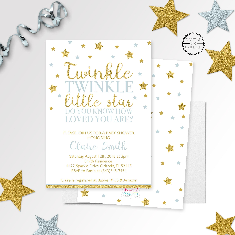 Twinkle Twinkle Little Star Baby Shower Invitation Printed Or | Etsy - Free Printable Twinkle Twinkle Little Star Baby Shower Invitations