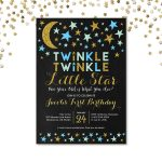 Twinkle Twinkle Little Star First Birthday Invitation, Blue And Gold   Free Printable Twinkle Twinkle Little Star Baby Shower Invitations