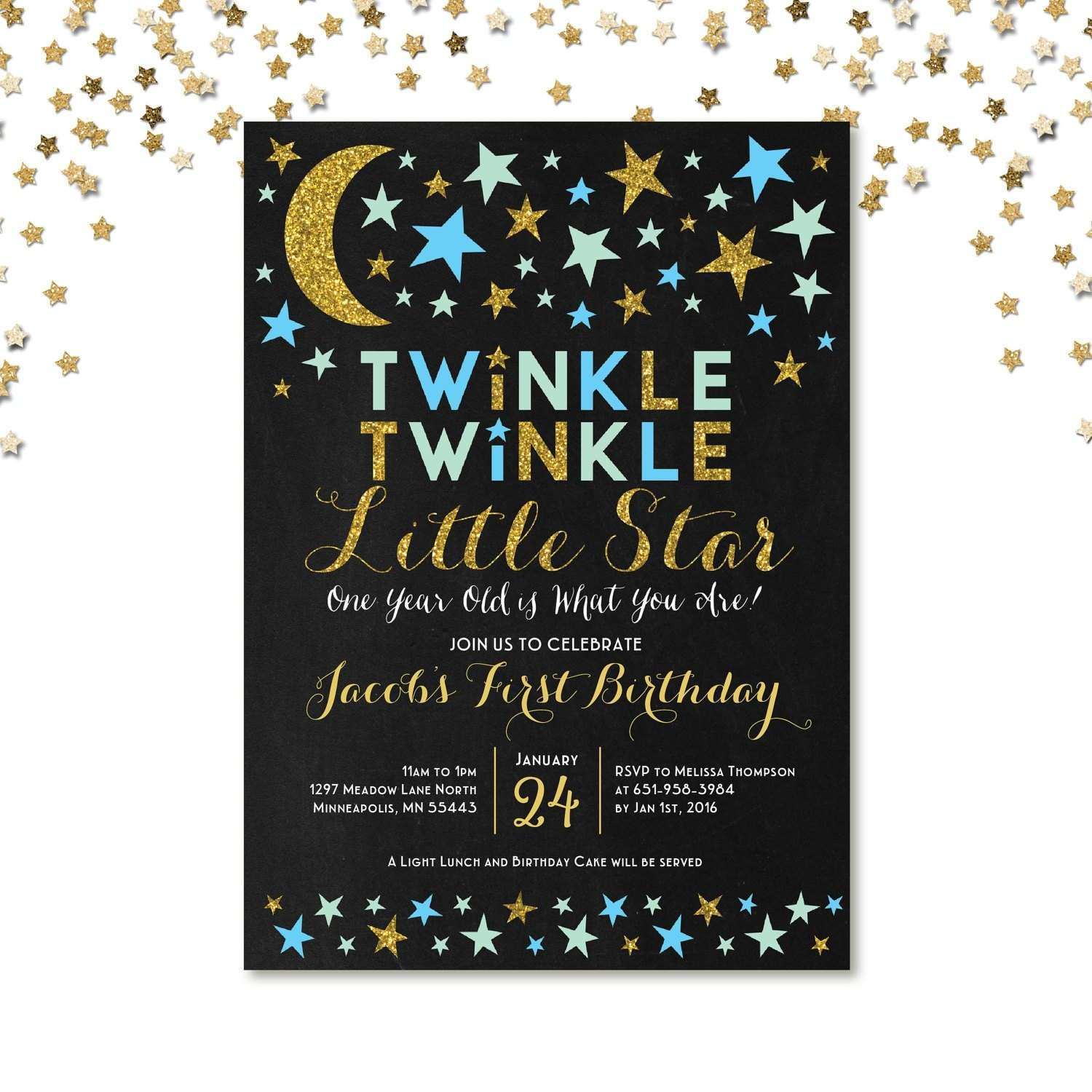 Twinkle Twinkle Little Star First Birthday Invitation, Blue And Gold - Free Printable Twinkle Twinkle Little Star Baby Shower Invitations