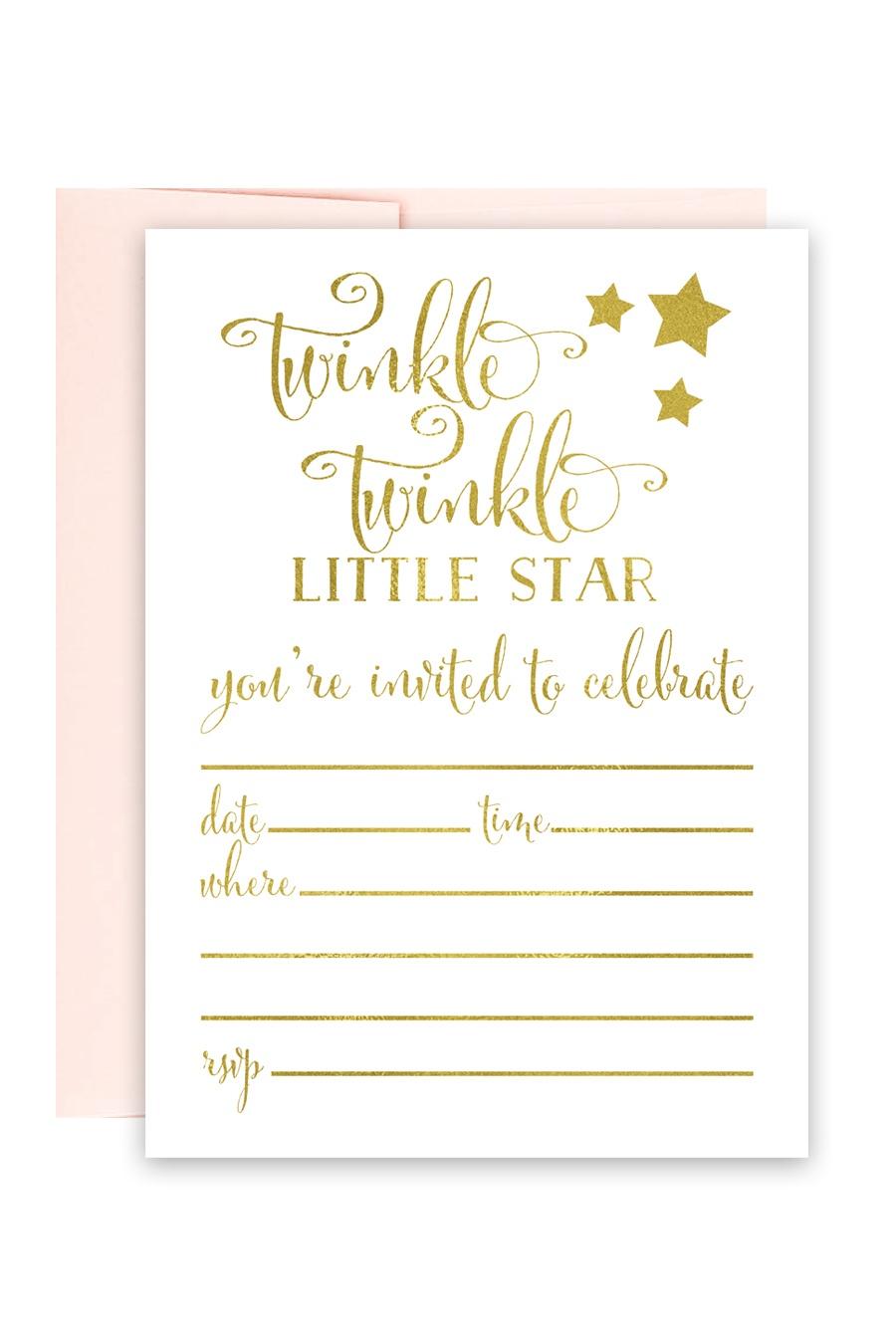 Twinkle Twinkle Little Star Foil Invitations - Chicfetti - Free Printable Twinkle Twinkle Little Star Baby Shower Invitations