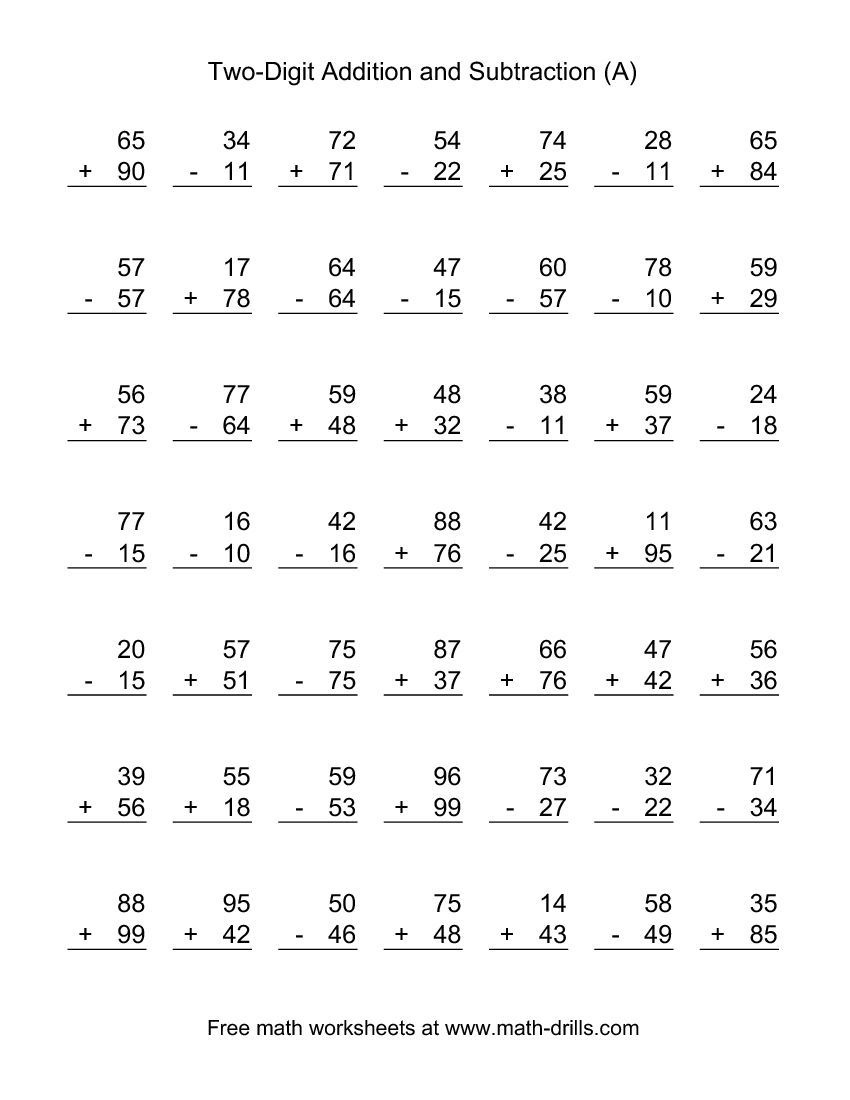 Two-Digit (A) Combined Addition And Subtraction Worksheet | Addition - Free Printable Mixed Addition And Subtraction Worksheets