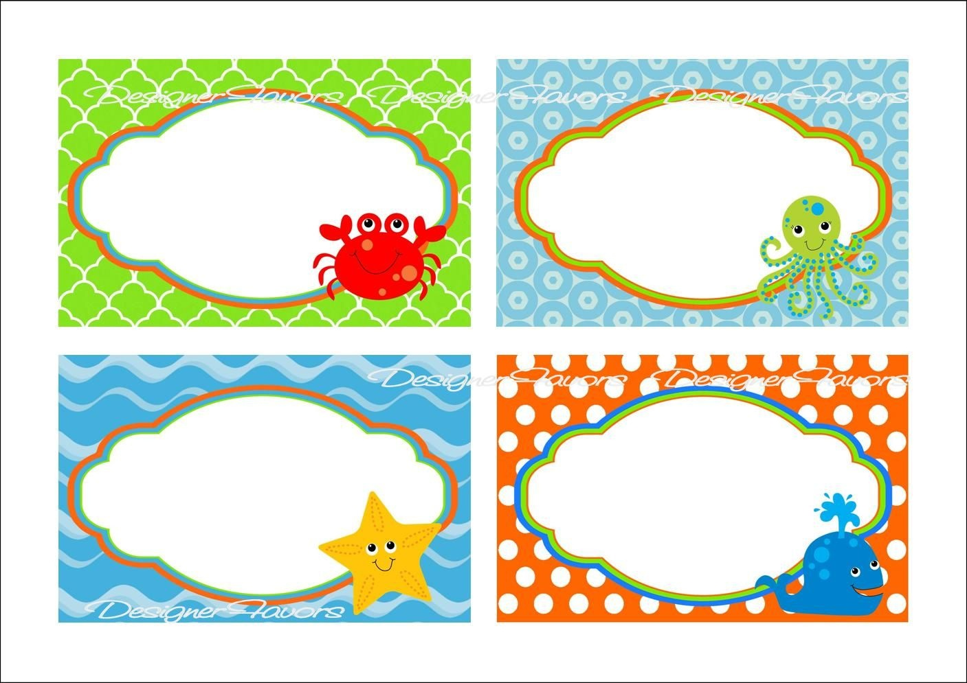 Under The Sea Food Labels Free Printable Tags - Imagestack - Free Printable Name Tags For School Desks