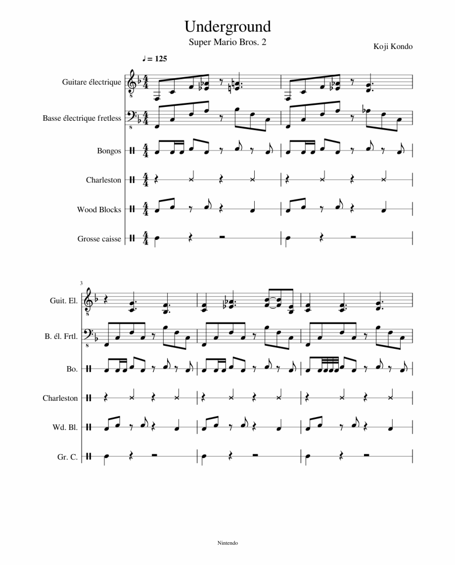 Underground Sheet Music Composedkoji Kondo 1 Of - Sheet Music - Airplanes Piano Sheet Music Free Printable