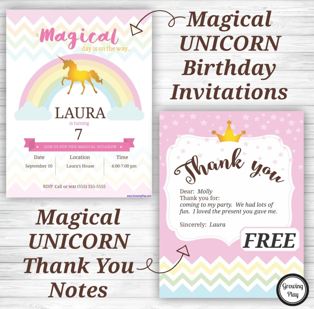 Unicorn Birthday Party Invitations And Thank You Notes - Free - Free Printable Unicorn Birthday Invitations