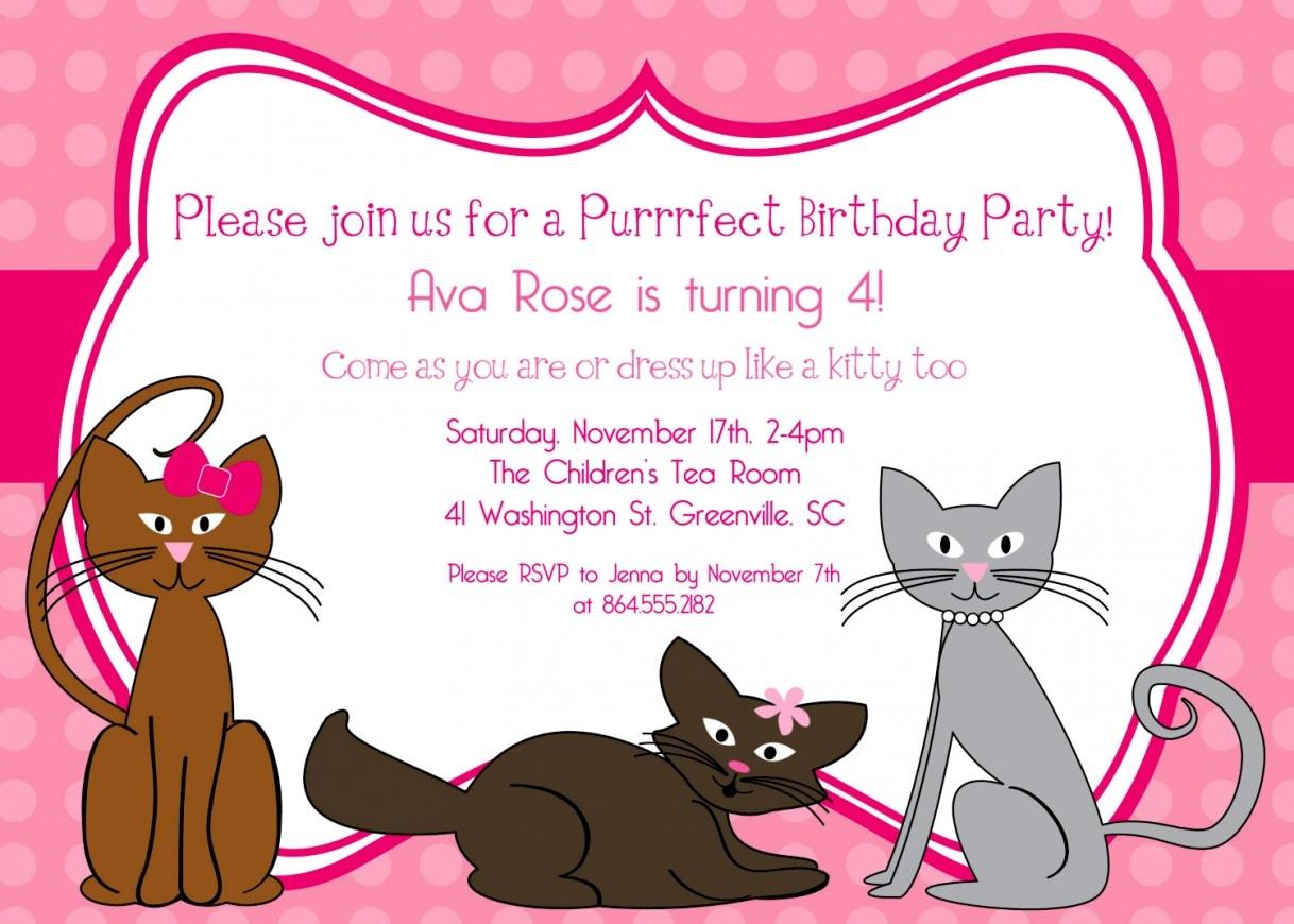 Unique Of Kitten Birthday Party Invitations Cat Invitation Girl - Free Printable Kitten Birthday Invitations