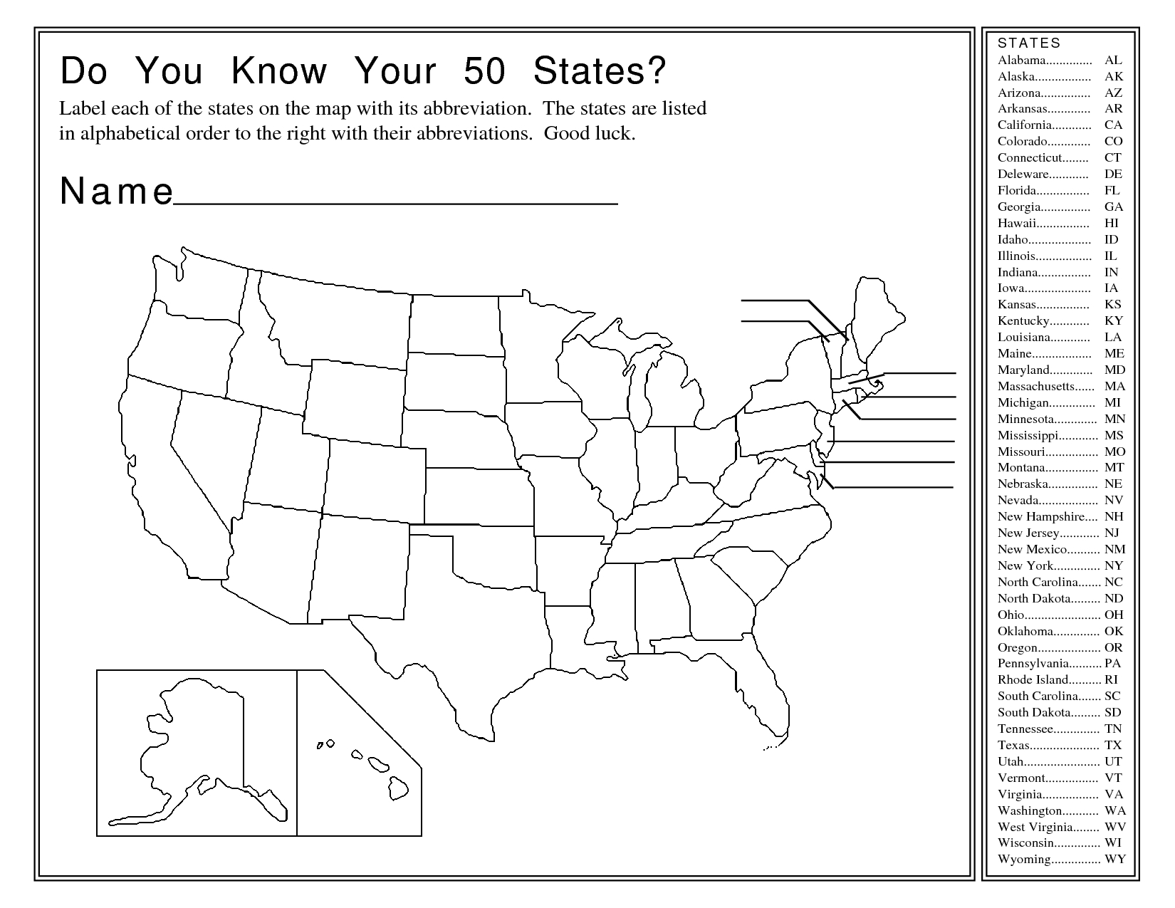 United States Map Activity Worksheet   Social Studies   Map - Free Printable States And Capitals Worksheets