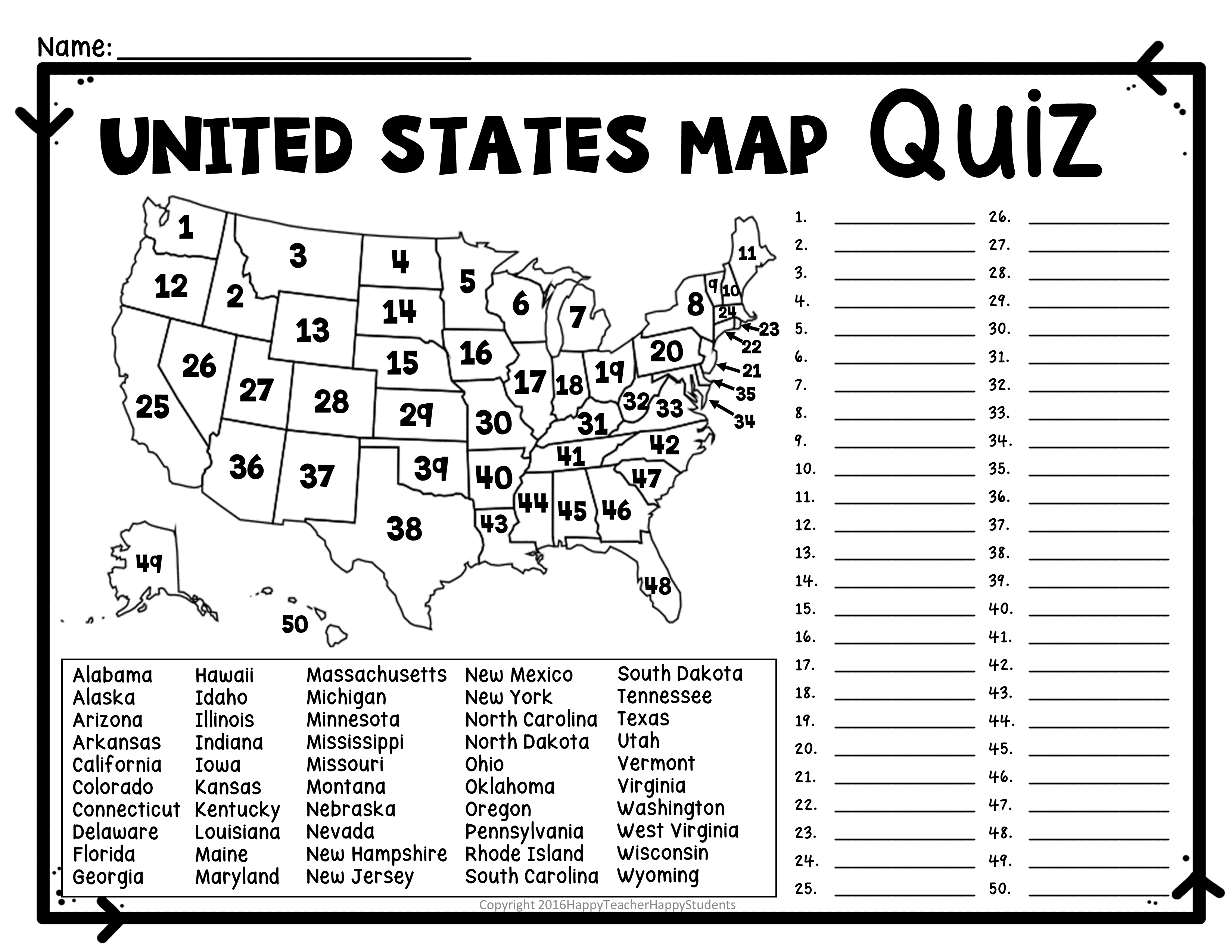 United States Map Quiz & Worksheet: Usa Map Test With ...