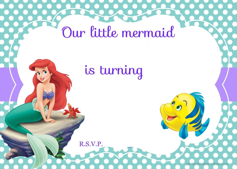 Updated! Free Printable Ariel The Little Mermaid Invitation Template - Mermaid Birthday Invitations Free Printable