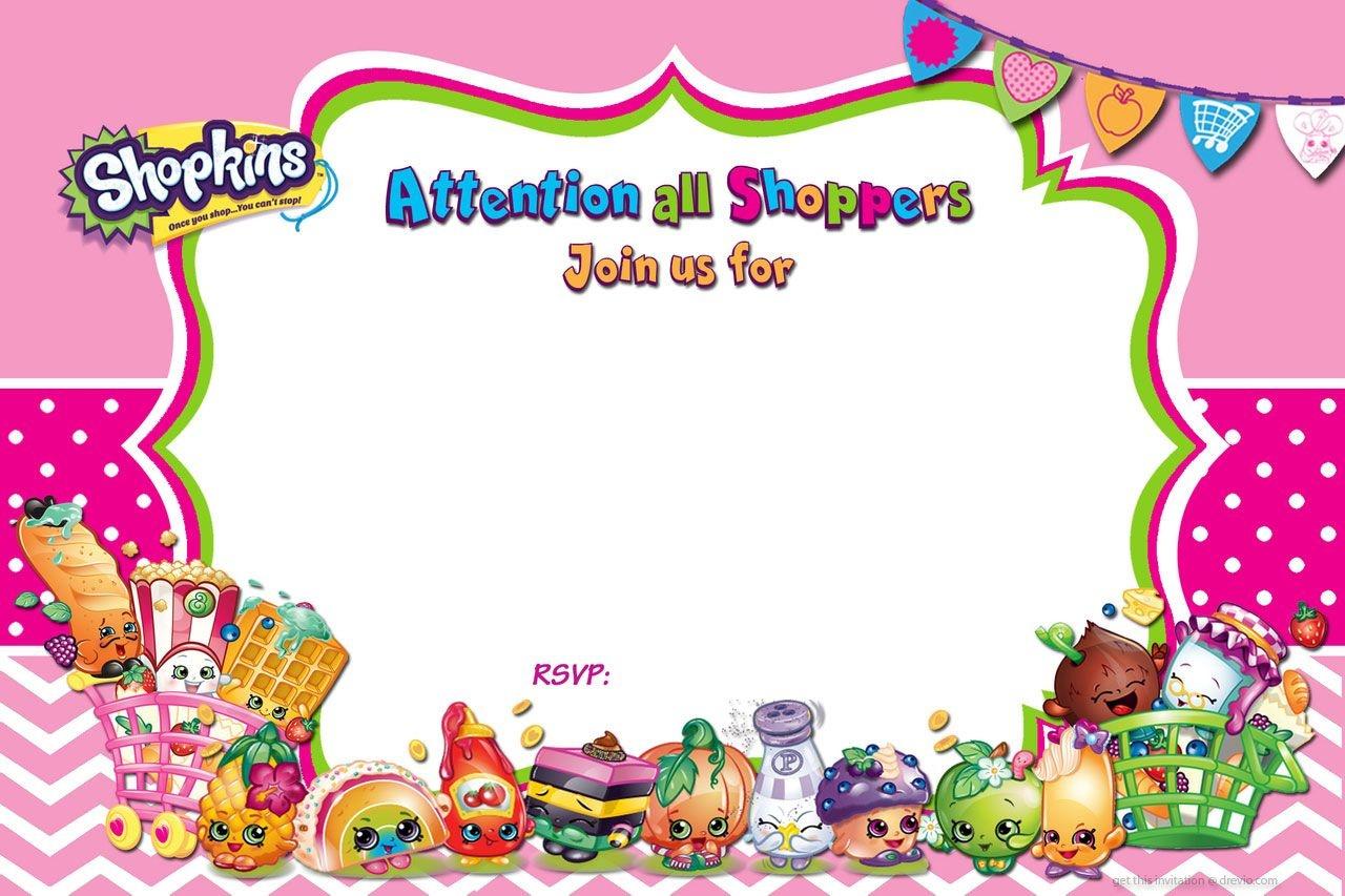Updated - Free Printable Shopkins Birthday Invitation | Free - Free Printable Shopkins Invitations