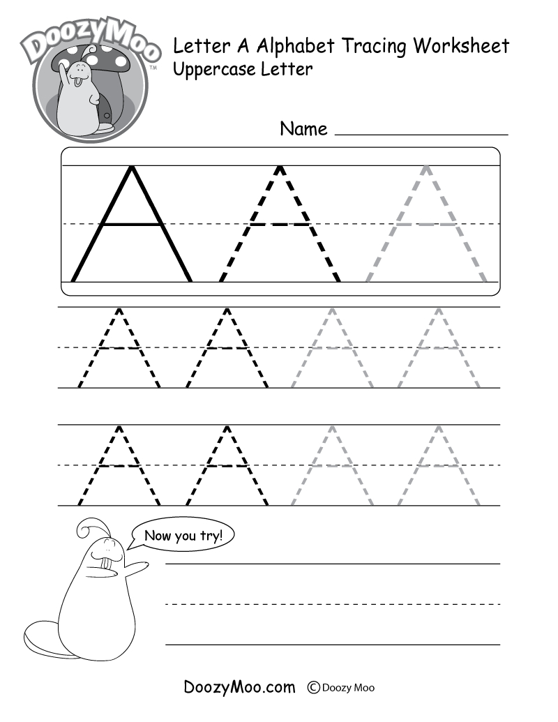 Uppercase Letter Tracing Worksheets (Free Printables) - Doozy Moo - Free Printable Name Tracing