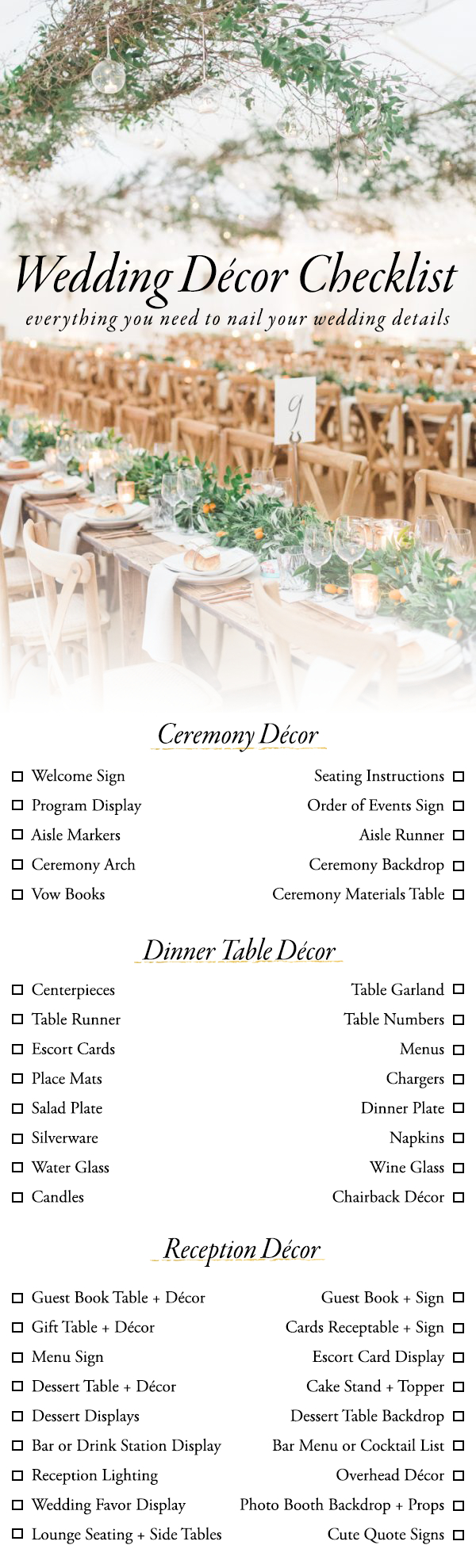 Use This Wedding Décor Checklist To Help You Nail Every Detail - Free Printable Wedding Decorations