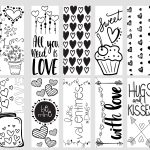 Valentine Printable Coloring Page Bookmarks   Kleinworth & Co   Free Printable Valentine Bookmarks