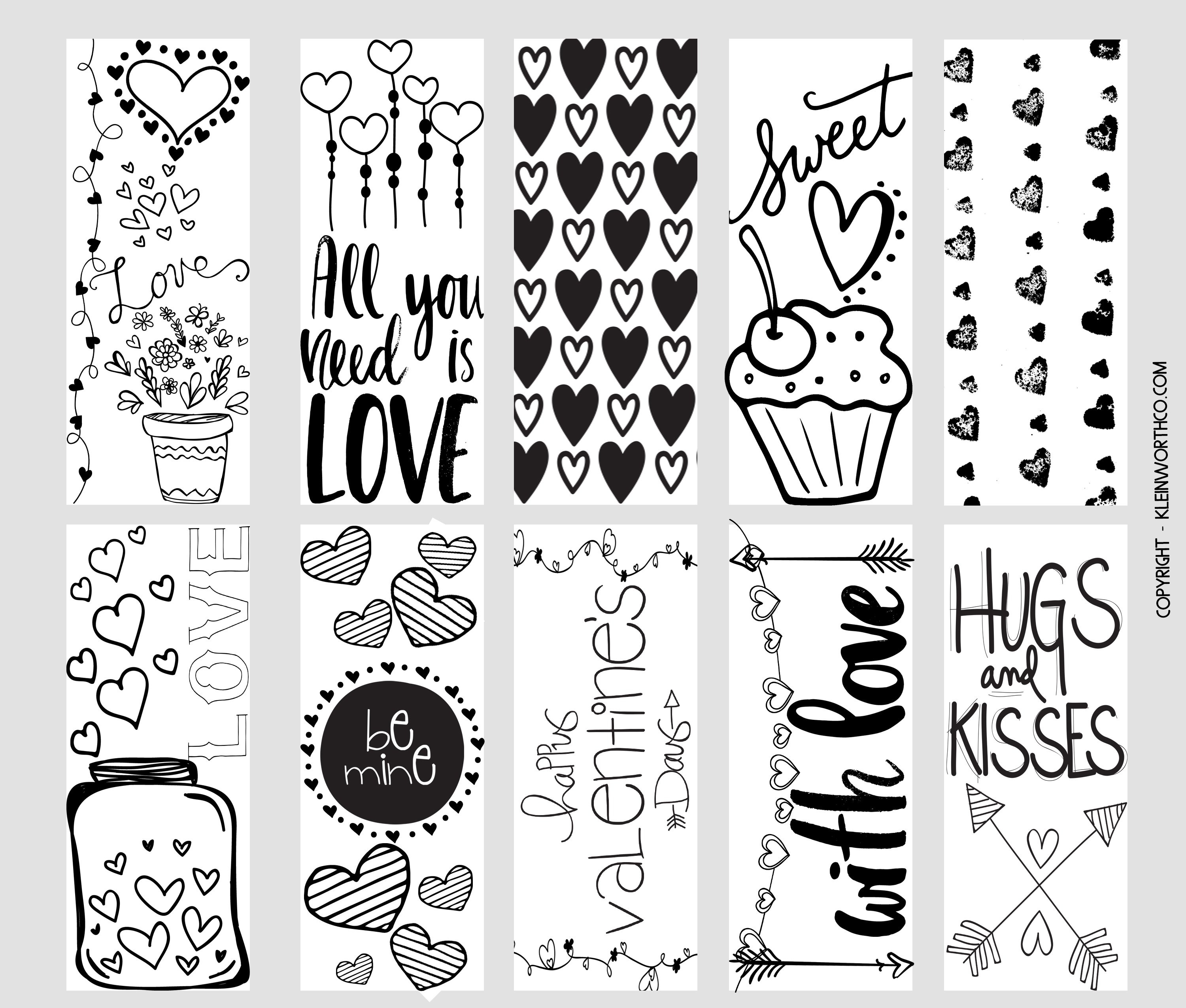 Valentine Printable Coloring Page Bookmarks - Kleinworth & Co - Free Printable Valentine Bookmarks
