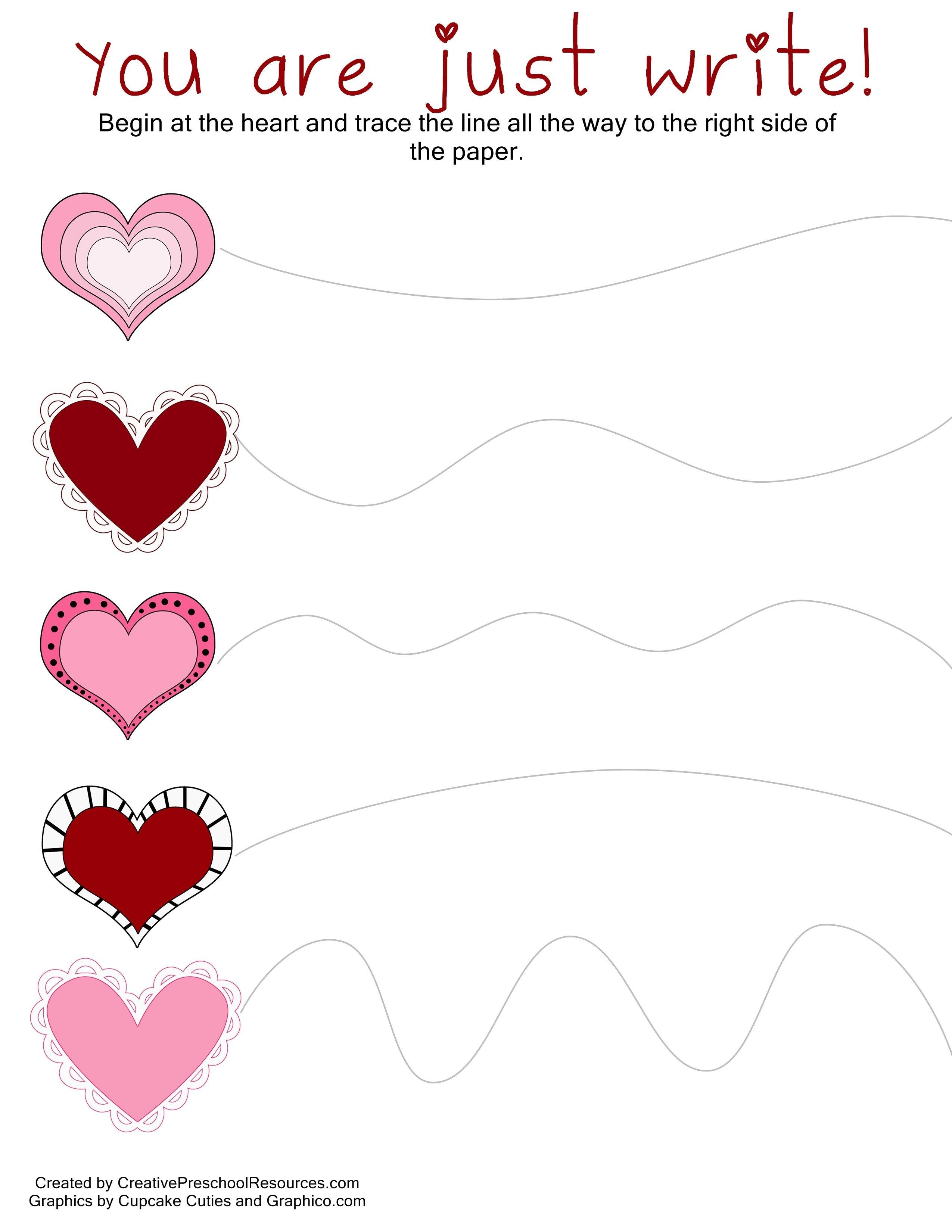 Valentine Trace & Cut Printables | Diy Kiddie Projects | Valentines - Free Printable Preschool Valentine Worksheets
