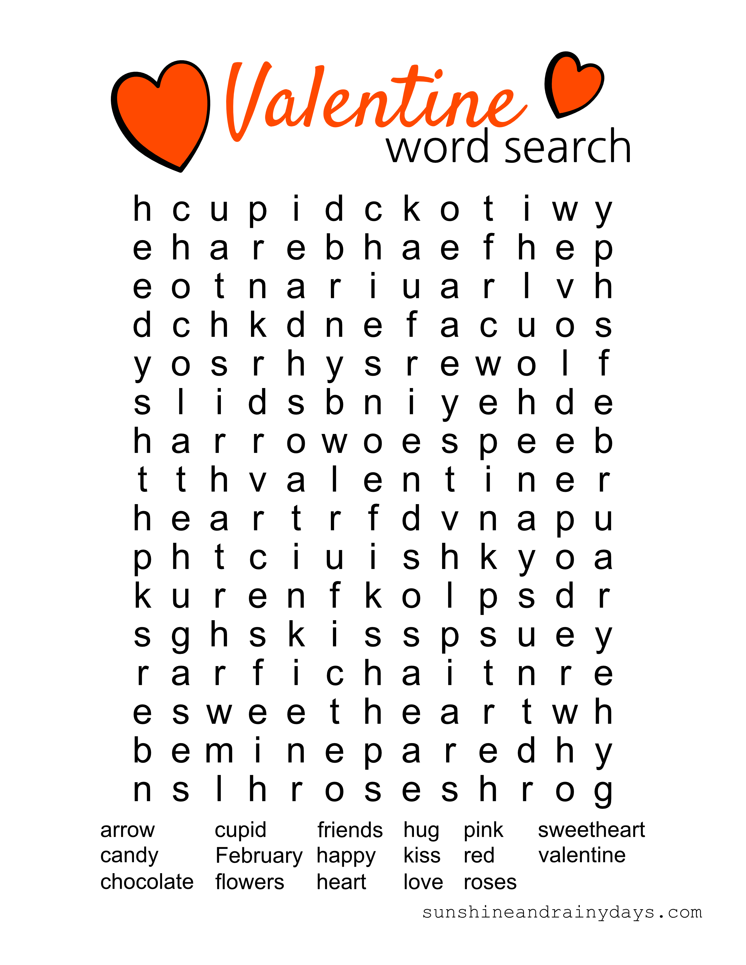 Valentine Word Search Printable - Sunshine And Rainy Days - Free Printable Valentine Word Search For Adults