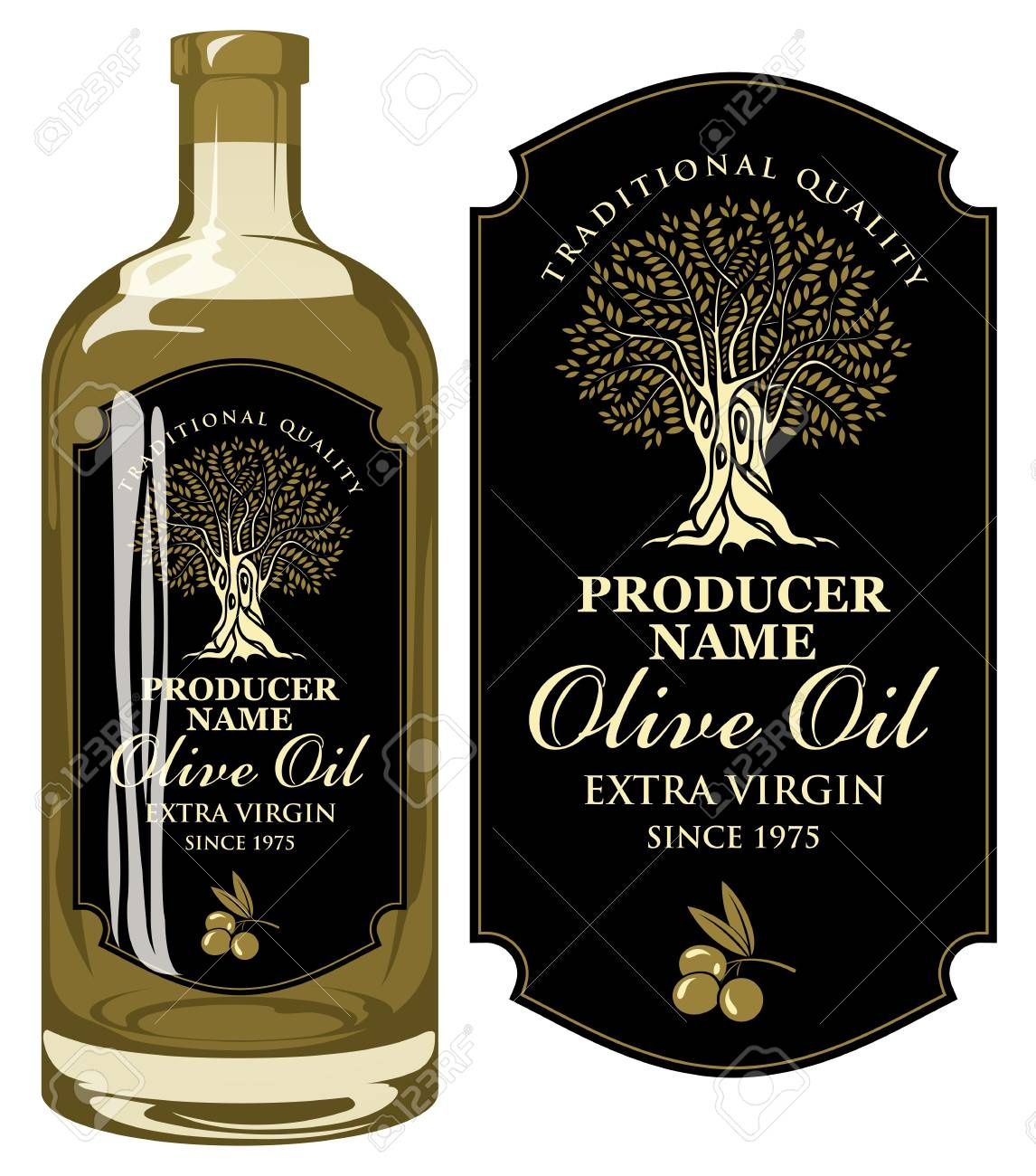 Vector Label For Extra Virgin Olive Oil With Handwritten - Free Printable Olive Oil Labels