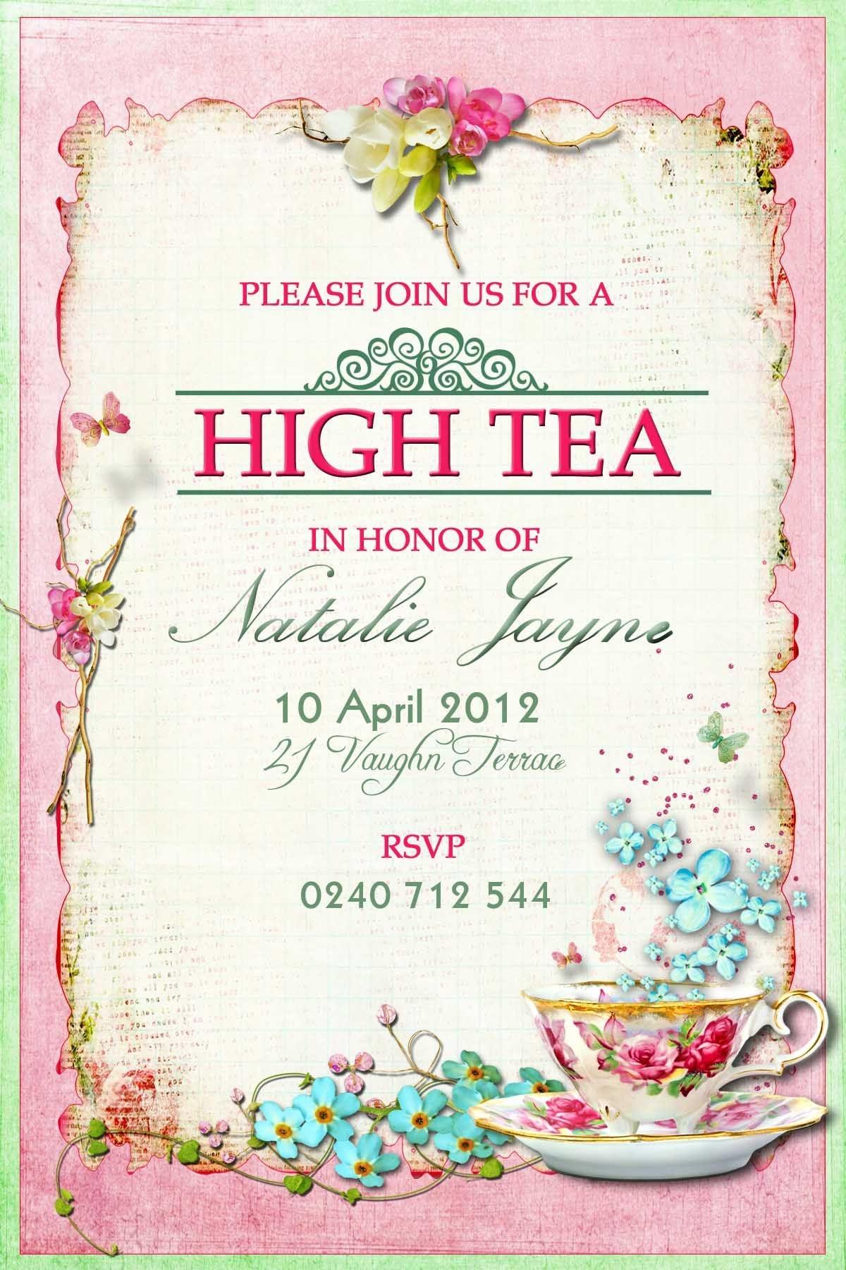 Victorian High Tea Party Invitations_Surprise Party Invitation - Free Printable Kitchen Tea Invitation Templates