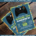 Video Game Birthday Party Invitation   Blue Camo   You Personalize   Free Printable Video Game Party Invitations