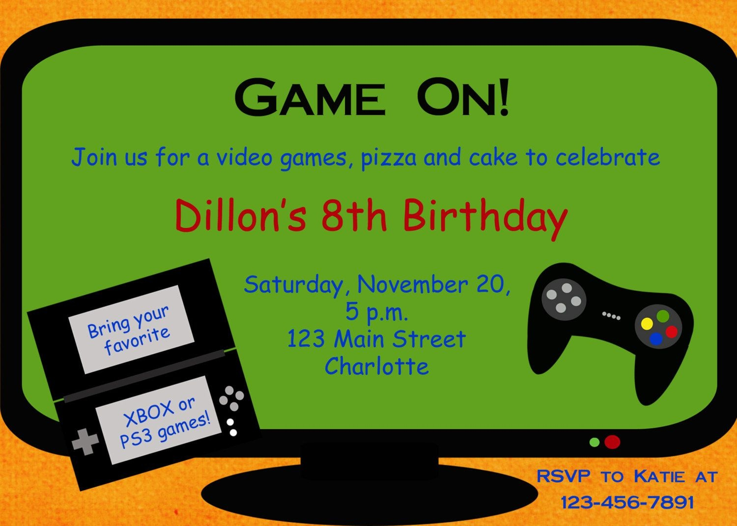 Video Game Party Invitation Template Free - Google Search | Party - Free Printable Video Game Party Invitations