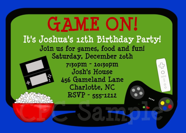 Video Games Birthday Invitation Video Game Birthday Party Invitation - Free Printable Video Game Party Invitations