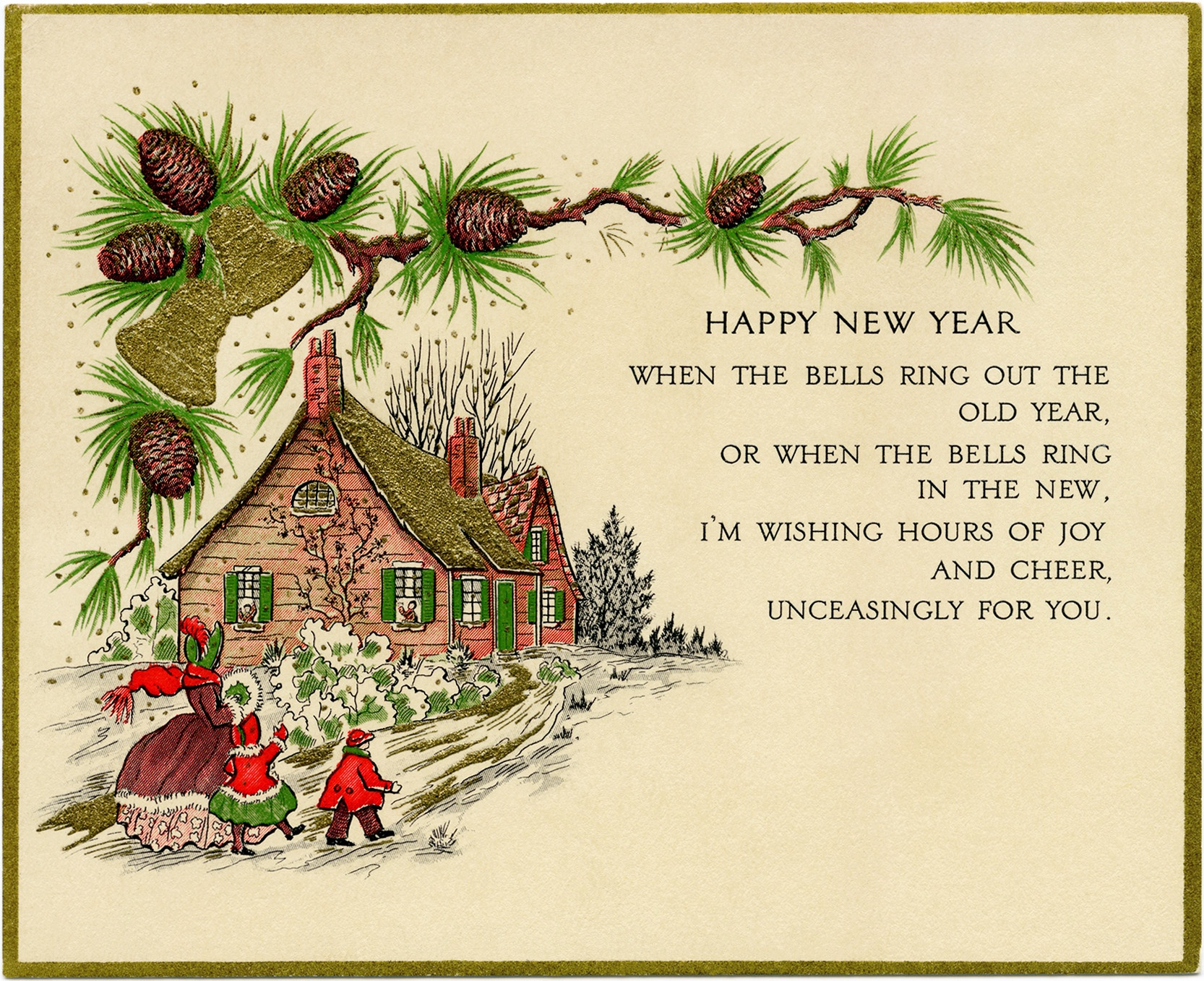 Vintage New Year Greeting Card - Old Design Shop Blog - Free Printable Happy New Year Cards