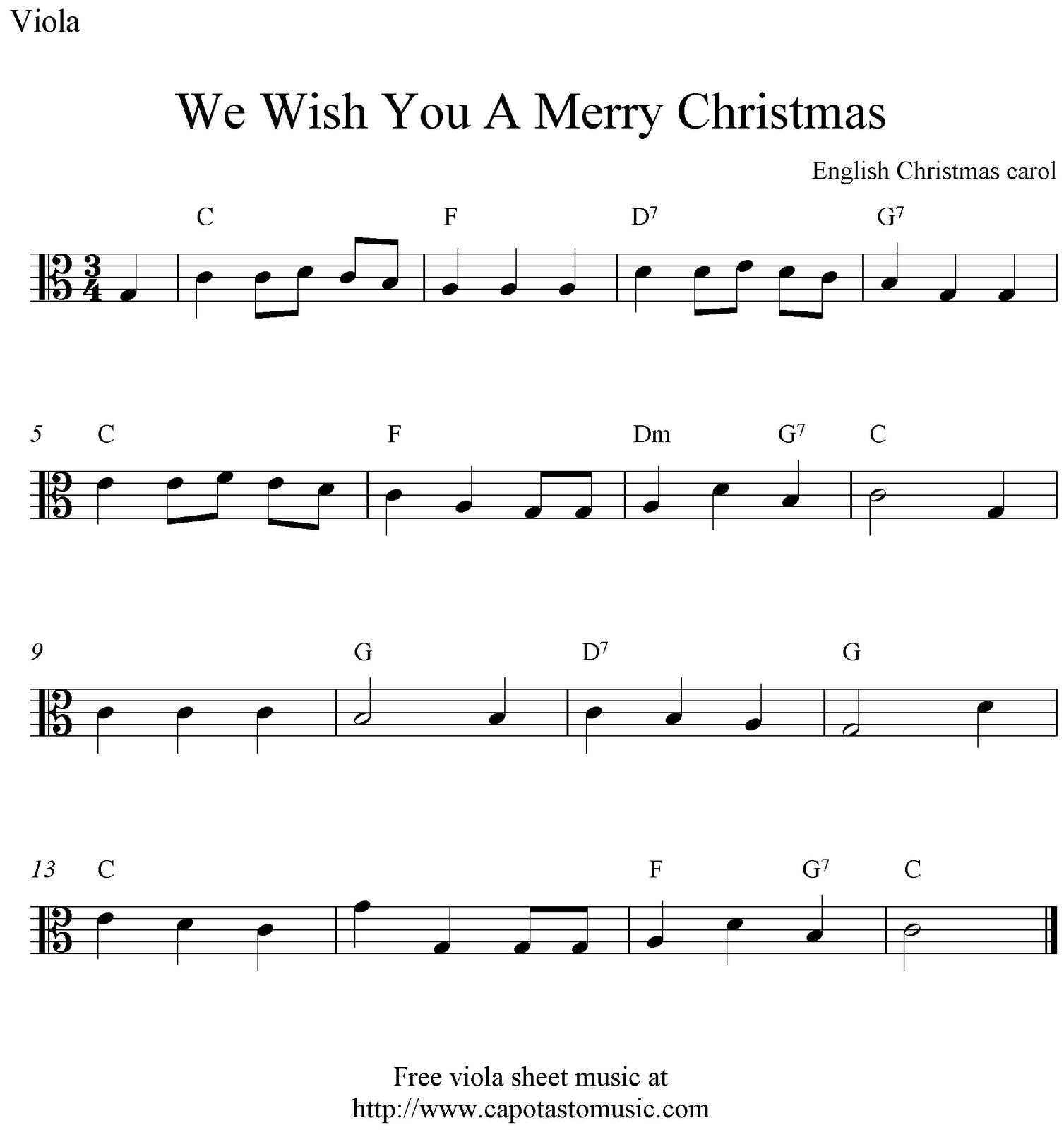 Viola Sheet Music For Christmas | Free Easy Christmas Viola Sheet - Trombone Christmas Sheet Music Free Printable