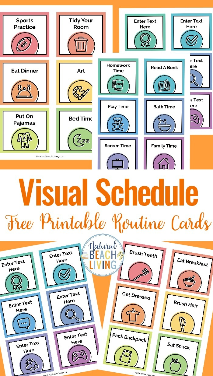 Visual Schedule - Free Printable Routine Cards - Natural Beach Living - Free Printable Picture Cards
